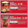AMC Theatres - $1 off One Large Popcorn & Fountain Drink - Today Only