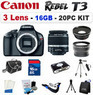 Canon EOS Rebel T3 Digital SLR 3 Lens Bundle