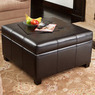 Richmond Espresso Bonded Leather Storage Ottoman