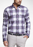 Plaid Extra Slim Fit Military Shirt