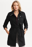 Women's Black Wool-Blend Belted Trench Coat