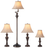 Portfolio 4-Pc. Bronze Faux Marble Lamp Set