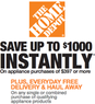 Home Depot - Up to $1,000 Off Appliances $397+