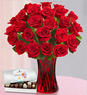 Red Hot Mama Mother's Day Roses + Free Vase + Chocolates