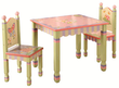 Children's Magic Garden Wooden Table and Chairs Set