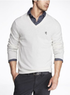 Men's Small Lion Solid Cotton V-Neck Sweater