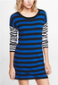 Women's Zipper Mix Stripe Sweater Dress