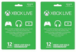 2pk Xbox LIVE 12 Month Gold Membership Cards